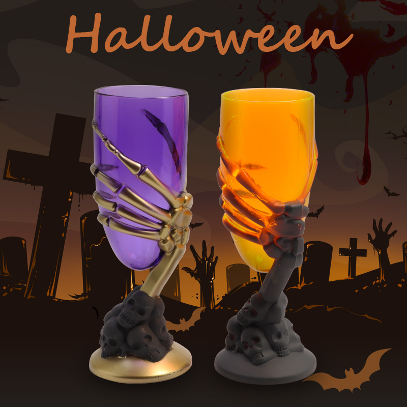 Halloween Led Bright Cup Goblet Skull Claw Skeleton Night Light Ktv Party Prop For Bar Party Scary Light Mug Direct Delivery
