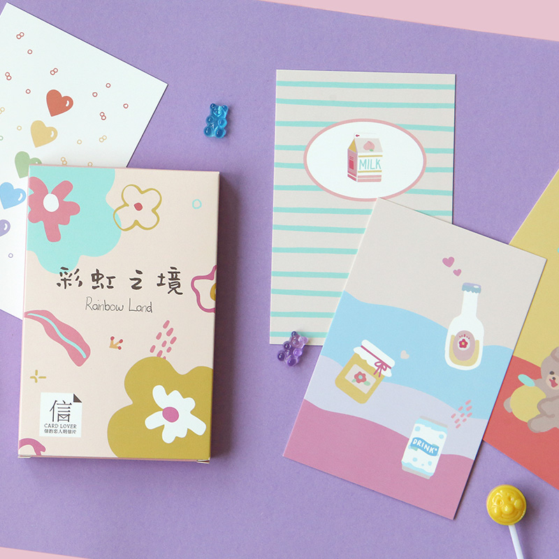 30 Sheets/Set Novelty Rainbow Land Postcard Cute Flowers Greeting Card Message Card Birthday Letter Gift Card