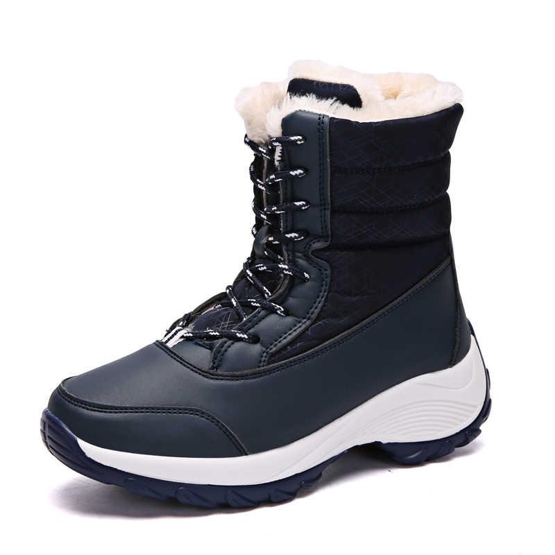 2019 moda sapatos de inverno mulher botas de couro preto plataforma botas de neve rendas até plana com pele quente venda grande tamanho
