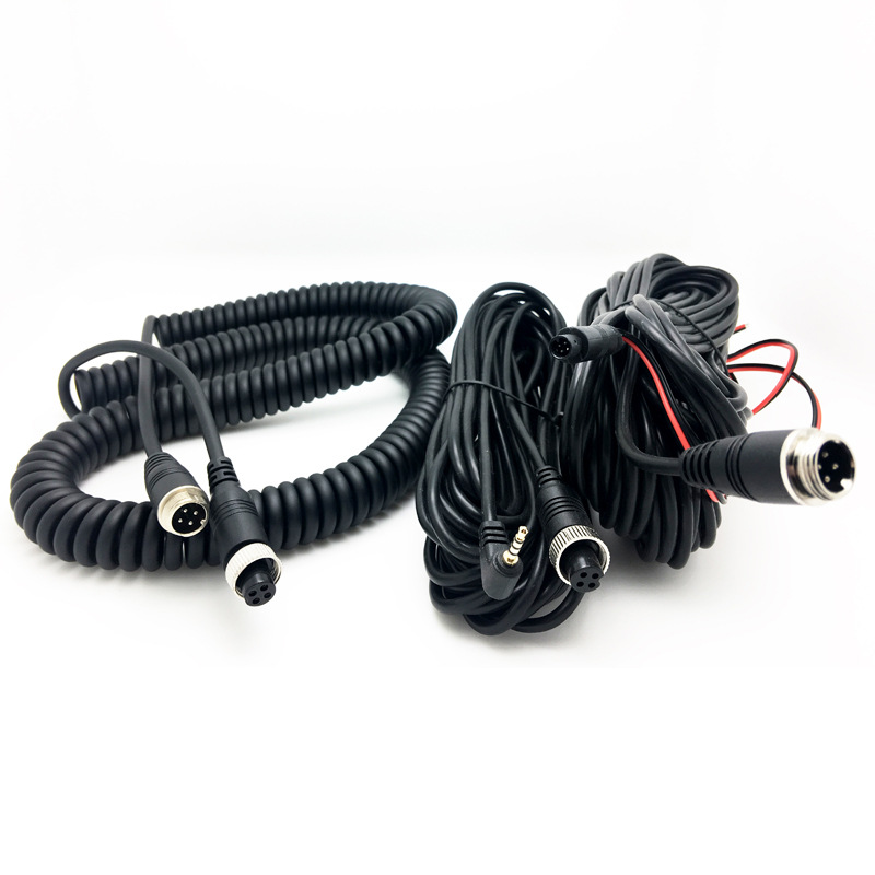 Aviation Head Car Mounted Spring Line 4 Core PU Trailer Connection Cable Tanker Aviation Head Plug And Socket Video Pendant Exte