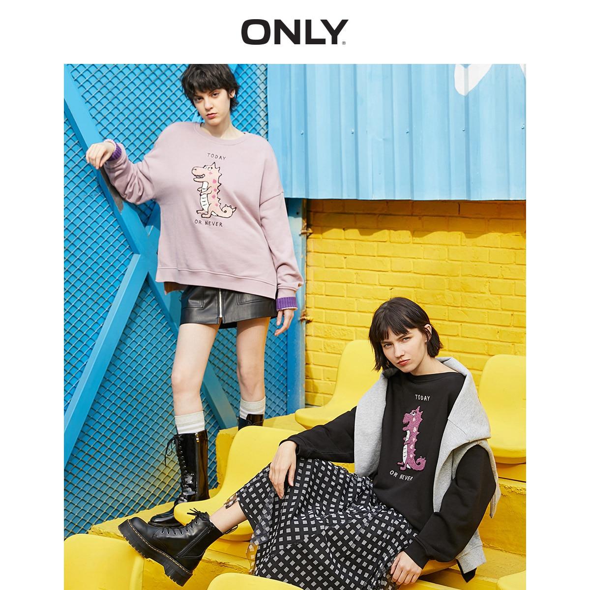 ONLY Women's Loose Fit Cute Dinosaur Pattern Sweatshirt | 11939S566