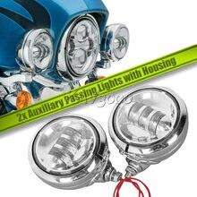 1 paire 4.5 «4 1/2 pouces Moto LED Brouillard Passant Lumière Auxiliaire Pour Harley Route FLHR Softail Electra Glide Touring
