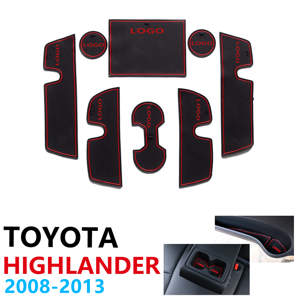 Anti-Slip Rubber Cup Cushion Door Groove Mat for Toyota Highlander XU40 Kluger 40 2008~2013 2010 2012 Accessories mat for phone
