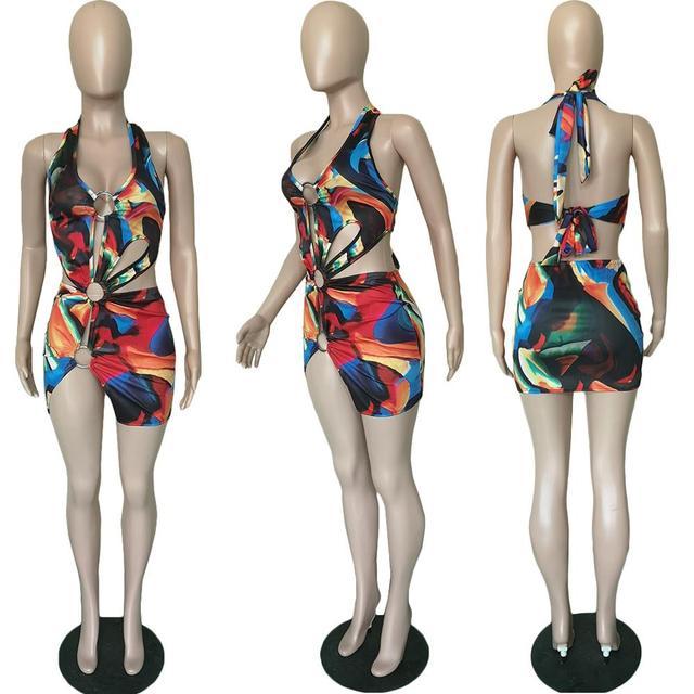 Sexy Print Dress Summer Hollow Out Beach wear Swim suit Dress for Women Casual Halter Bandage Cut Out Dress 5