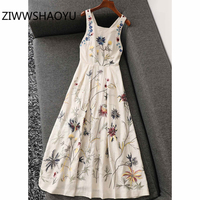 ZIWWSHAOYU Female Summer Embroidery Backless Linen Dress Fashion Designer Women High Waist Sleeveless Vintage Long Dresses