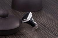 New 925 Sterling Silver Men's Ring Simple Black Diamond Epoxy Vintage Jewelry
