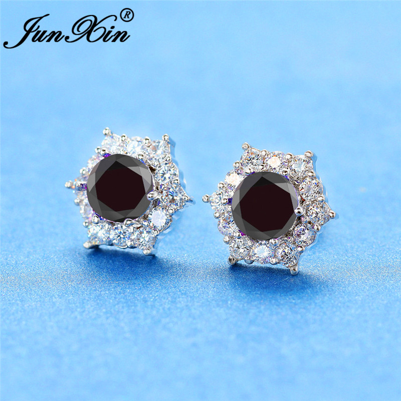 Female Black Crystal Zircon Stud Earrings Simple White Gold Hexagon Earrings For Women Vintage Double Earrings Daily Jewelry Cz
