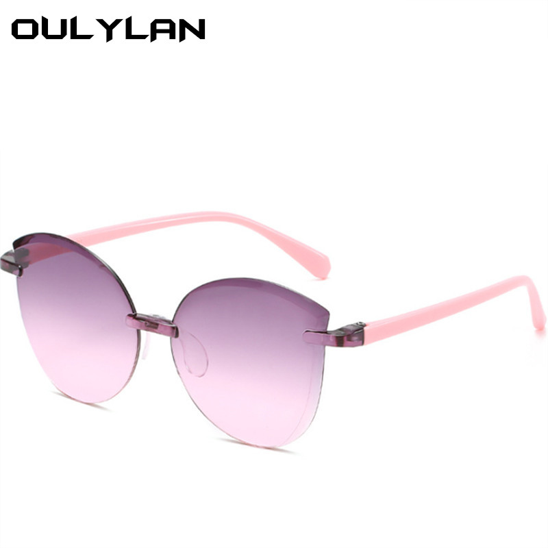 Oulylan Rimless Kids Sunglasses Boys Grils Lovely Baby Sun Glasses  Children Outdoor Goggles Shades Colorful Mirror UV400