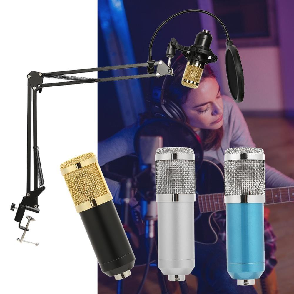 New Professional Condenser Audio 3.5mm Wired BM800 Studio Microphone Vocal Recording KTV Karaoke Microphone Mic W/Stand For PC image