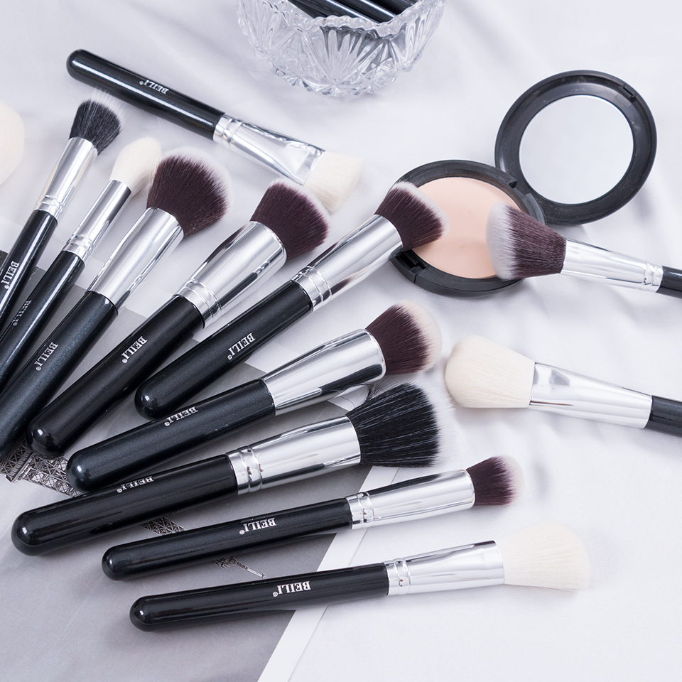Image 3 - BEILI Black Complete Professional Natural goat hair Makeup Brushes set Foundation Powder Concealer Contour  Eyes Blending brush-in Eye Shadow Applicator from Beauty & Health