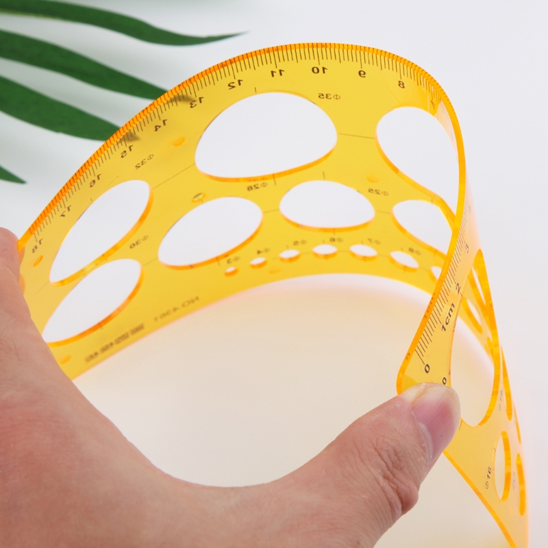 K Resin Circles Geometric Template Ruler Stencil Drawing Measuring Tool Students