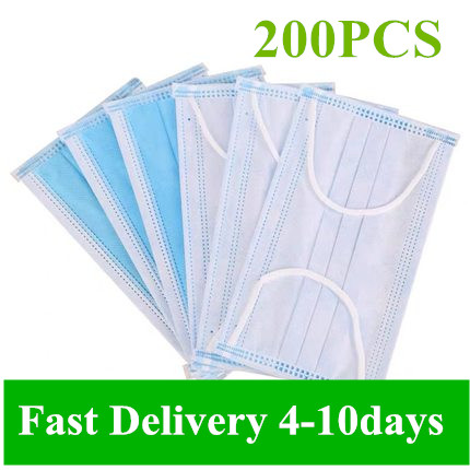 200pcs Disposable Antivirus Masks Flu, Dustproof Nonwove 3 Layer Ply Filter Mouth Face Mask Meltblown Mouth Masks
