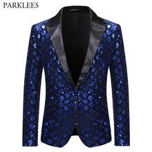 ロイヤルブルースパンコールグリッター修飾語ブレザージャケット男性ワンボタン光沢のあるチェック柄タキシードブレザーメンズナイトクラブウエディングステージ衣装