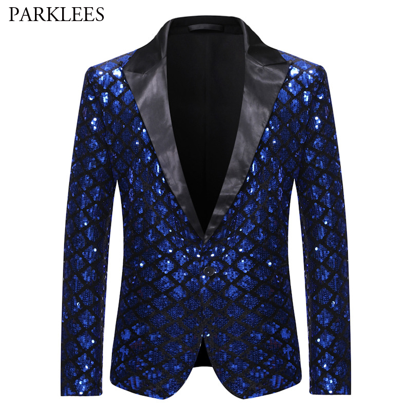 Royal Blue Sequin Glitter Embellished Blazer Jacket Men One Button Shiny Plaid Tuxedo Blazers Mens Nightclub Prom Stage Costumes