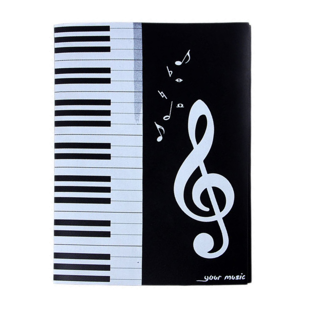Music Folder Four Sides Six-Page A4 Multi-functional Storage Organizer Clips Piano Concert Sheet Note Document File Case