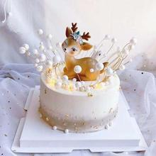 Cute Simulated Sika Deer Christmas Home Party Desktop Cake Decor Birthday Baking Holiday