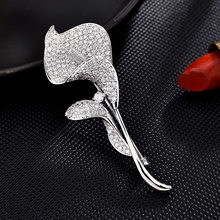 Ataullah Exquisite Flower Calla Lily Brooch Luxury Cubic Zircon Pave Jewelry Women Coat Dress Pins Brooches Accessories CW007(China)