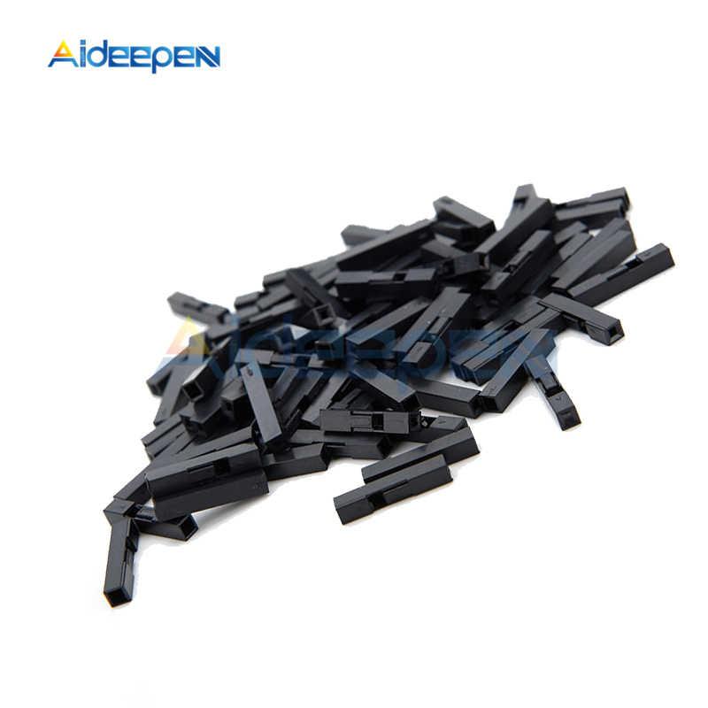 100 Pcs/lot 2.54mm 1 broche 2 broches pas Dupont cavalier fil câble noir boîtier en plastique femelle broche connecteur boîtier coque boîte 1 P/2 P