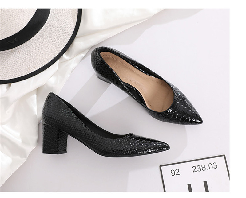 2020 New Women's Pumps Shoes Thick Heels Single Female Pumps Shoes Woman Korean Crocodile Pattern Leather Office Lady Work Shoes (31)