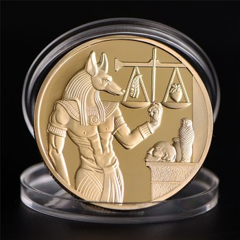 1pc Gold Plated Egypt Death Protector Anubis Coin Copy Coins Egyptian God Of Death Commemorative Coins Collection Gift image