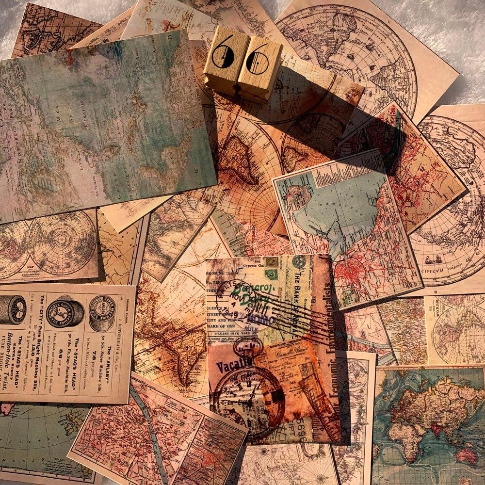 25pcs Retro Old Earth Map Material Sticker Stamp Label Sticker DIY Scrapbooking Label Diary Album Escolar