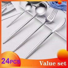 Spklifey Steel Cutlery Set 24 PCS Stainless Spoon Knife Fork Dinnerware