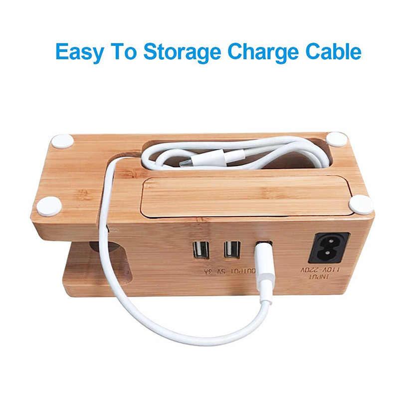 Nueva estación de carga de madera estación de carga de bambú soporte de cargador Compatible con iPhone Apple Watch 999