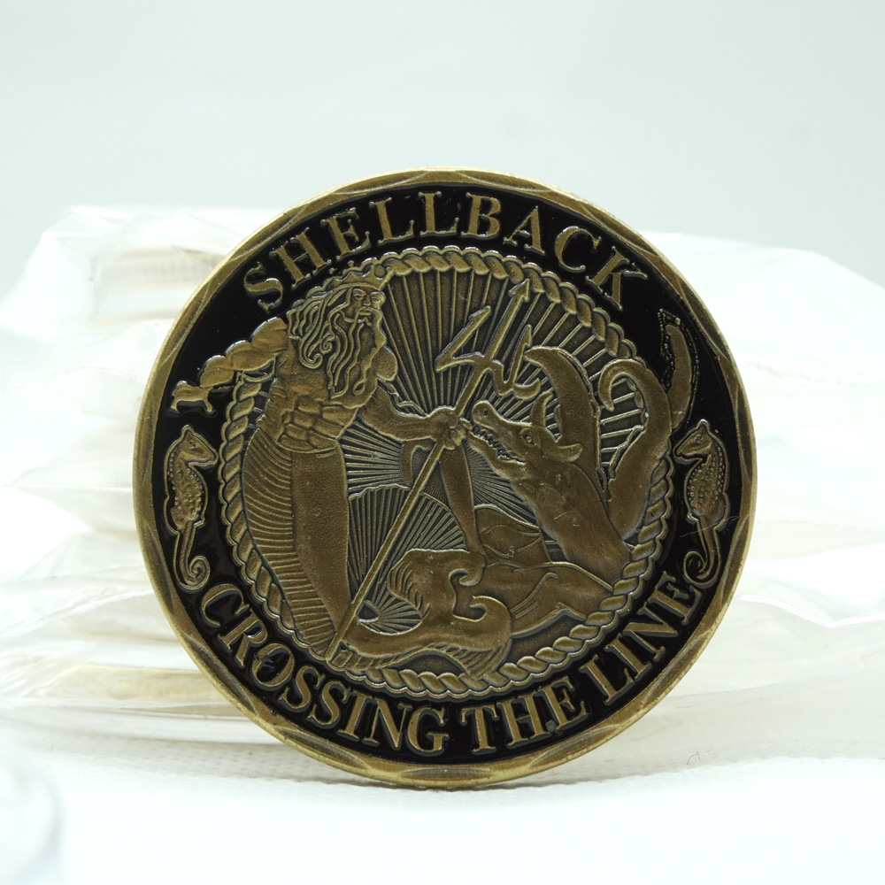 5pcs/lot Replica Souvenir Gift Zinc Alloy U.S. Shellback Crossing Line Coin United States Navy Challenge coins