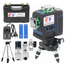 Kaitian Laser Level Tripod Green 3D 12 Lines Self-Leveling Vertical &Horizontal Powerful 360 Bracket 532nm Nivel Lasers Receiver
