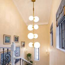 New Classical Creative Pendant Light Stairs Art Decoration Foyer 8 heads Droplight White Glass lampshade LED lighting fixture