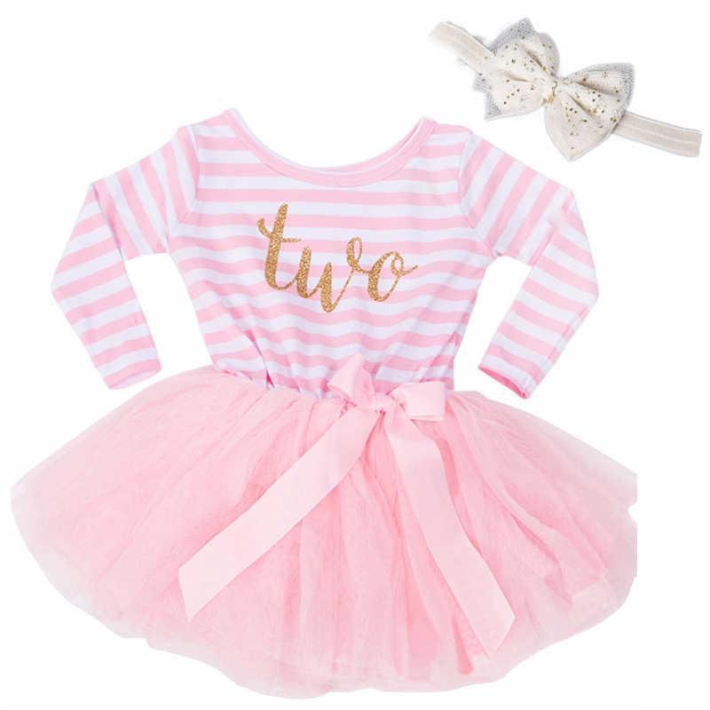Vestido a rayas para bebé de manga larga de invierno, vestidos para recién nacido para niña, ropa para niños de 1, 2 y 3 años, trajes de cumpleaños, tutú de princesa rosa