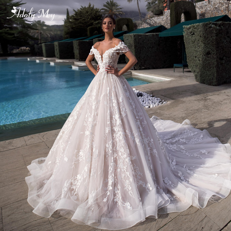 Adoly Mey Gorgeous Appliques Flowers A-Line Wedding Dresses 2020 Luxury Beaded Boat Neck Lace Up Princess Bridal Gown Plus Size