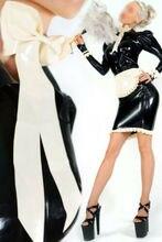 Latex Gummi Gummi Maid Diener Uniform Outfits Kleid schürze angepasst 0,4mm