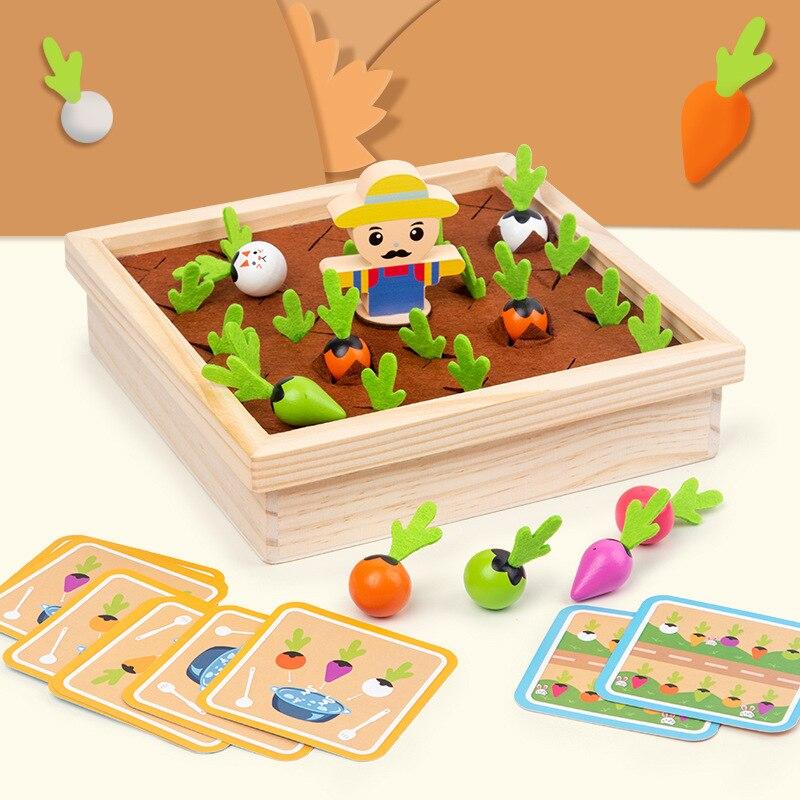 Дети Монтессори деревянная игрушка для малышей тянуть морковь Форма одинаковая Цвет Размеры познавательная головоломка Раннее Обучение р...