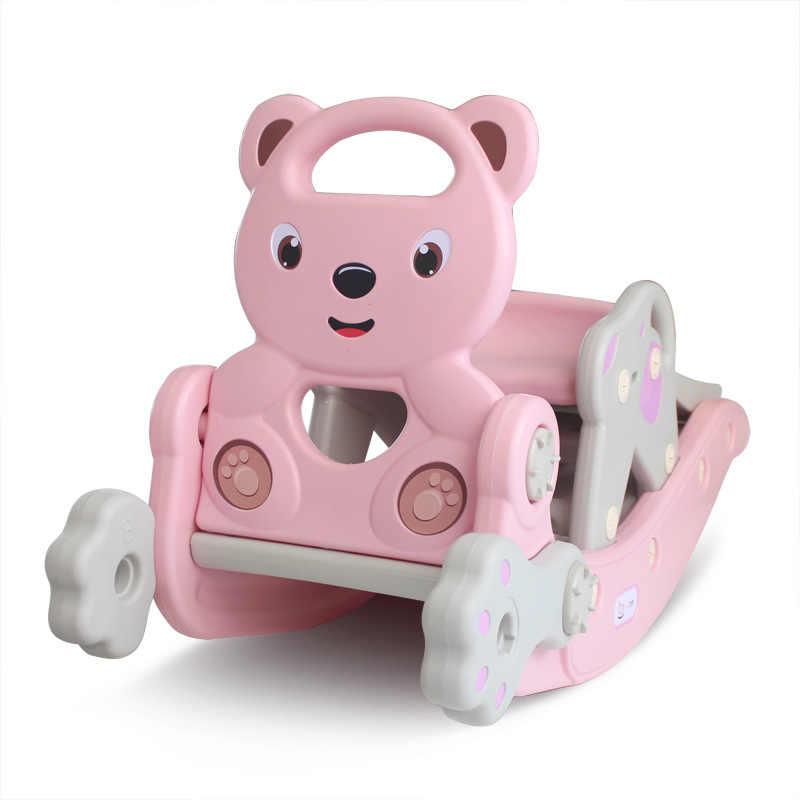 الأطفال هزاز الحصان الشريحة مزيج اثنين في واحد داخلي كرسي متأرجح سماكة كرسي متأرجح خشبية الحصان دمية بلاستيكية