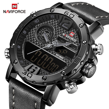 NAVIFORCE Top Luxury Brand Mens Watches Leather strap Sport Dual Time Quartz Watch Men Date Waterproof Clock Military Wristwatch watches men naviforce brand men s quartz watch men luminous hour date leather clock male military sports watch casual wristwatch