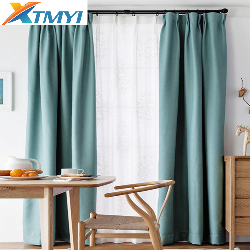 Europe Solid Colors Blackout Curtains For Bedroom Living Room Sky