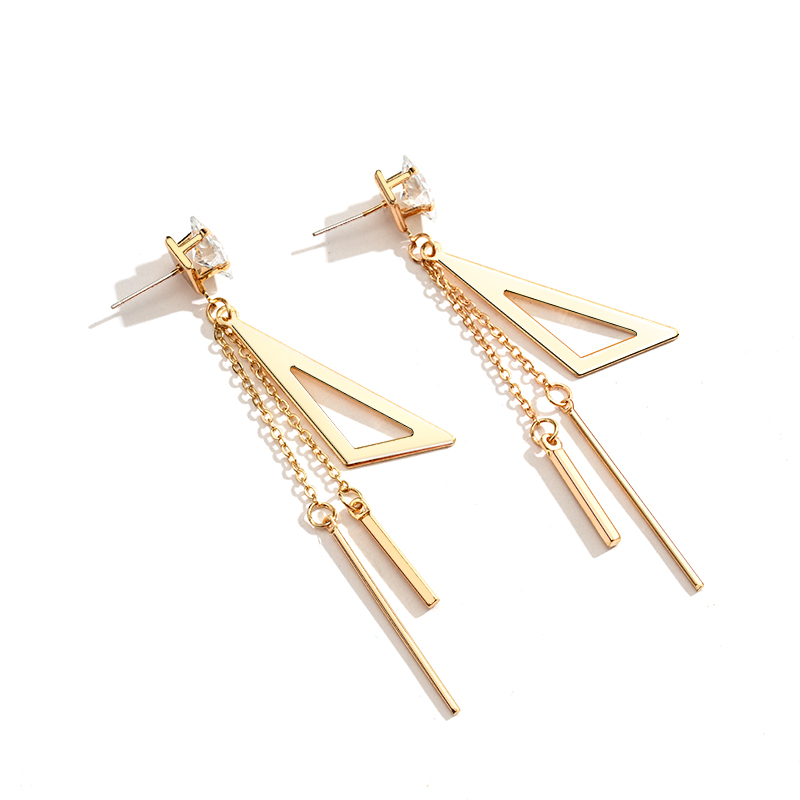 New Vintage Unique Gold Metal Long Drop Earrings for Women Trendy Geometric Statement Dangle Hanging 2020 New Party Accessories
