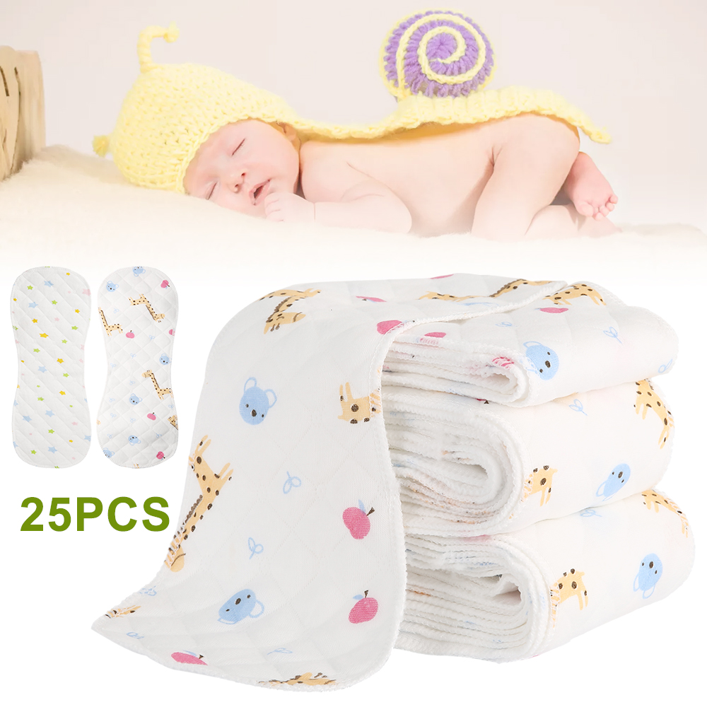 25pcs Reusable Infant Cloth Diapers Soft Peanut Shaped 3-layer Insert Baby Nappy Use Water Absorbent Breathable Diaper