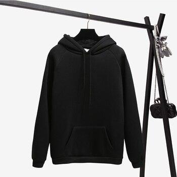 Ailegogo New Women Fleece Hoodies Lady Streetwear Sweatshirt Female White Black Winter Warm Hoodie Solid Color Outerwear 3