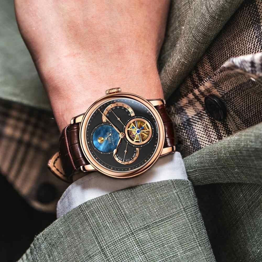 LOBINNIโรมนาฬิกาMens 2019 Relogio Masculinoอัตโนมัติเกียร์แบรนด์เหล็กOrologioหนังราคานาฬิกาข้อมือ