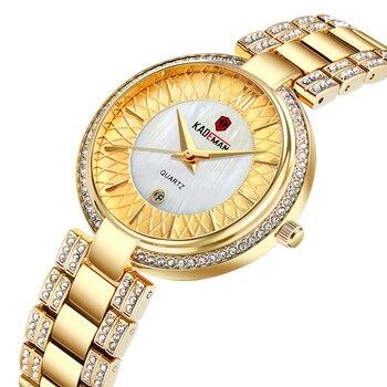 цена на KADEMAN Golden Women Watch Fashion Female Wristwatch Waterproof Stainless Steel Multicolor Date Display Quartz Ladies Watches