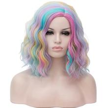Парик HAIRJOY из синтетических волос для женщин, для косплея, короткий разноцветный, фиолетовый, темно-зеленый, розовый, черный, белый