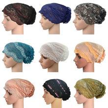 Gorro interior musulmán de flores para mujer, gorro turbante de encaje, cubierta inferior, sombrero islámico, sombrero, pérdida de cabello, gorros, Calavera, quimioterapia por cáncer