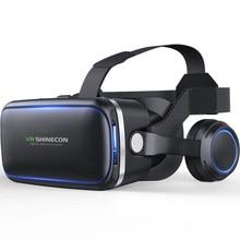 Vr shinecon 6.0 edição padrão e fone de ouvido versão realidade virtual 3d vr óculos fone de ouvido capacetes