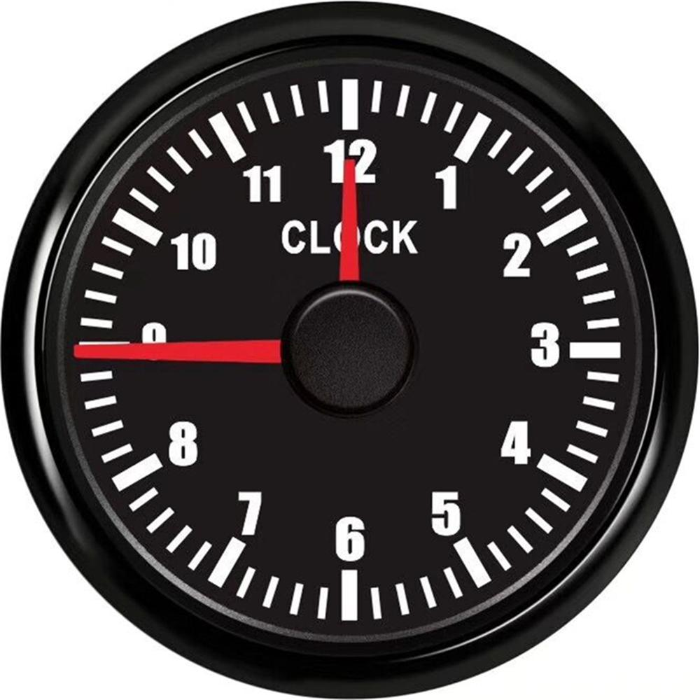 1pc Pointer Type <font><b>Clock</b></font> Gauges Tuning 52mm <font><b>Boat</b></font> <font><b>Clock</b></font> Meters 0-12Hours Hourmeters Red Backlight for Auto Ship Yacht Motorcycle image