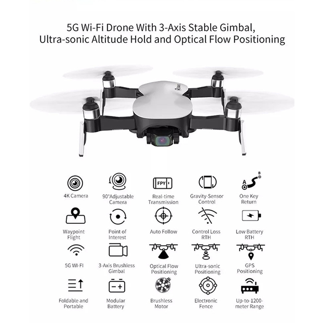 Eachine EX4 5G WIFI FPV GPS With 4K HD Camera 3-Axis Stable Gimbal Point of Interesting Flight RC Drone Quadcopter RTF