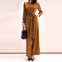 Spring Women Fashion Elegant Office Workwear Casual Jumpsuits Striped Long Pants Jumpsuits Romper With Belt