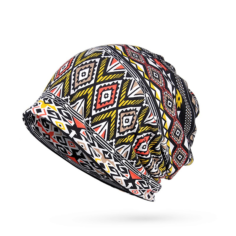 Hot Female Beanies Cap Scarf Adult Geometric Printed Sunshade Breathable Hat Riding Beach Hiking Cap Neck Warmer Travel Headwear in Hiking Caps from Sports Entertainment