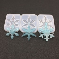 Snowflake Resin Mold DIY Mirror Crystal Snowflake Accessories with Hole Pendant Silicone Epoxy Mold Handmade Jewelry Christmas